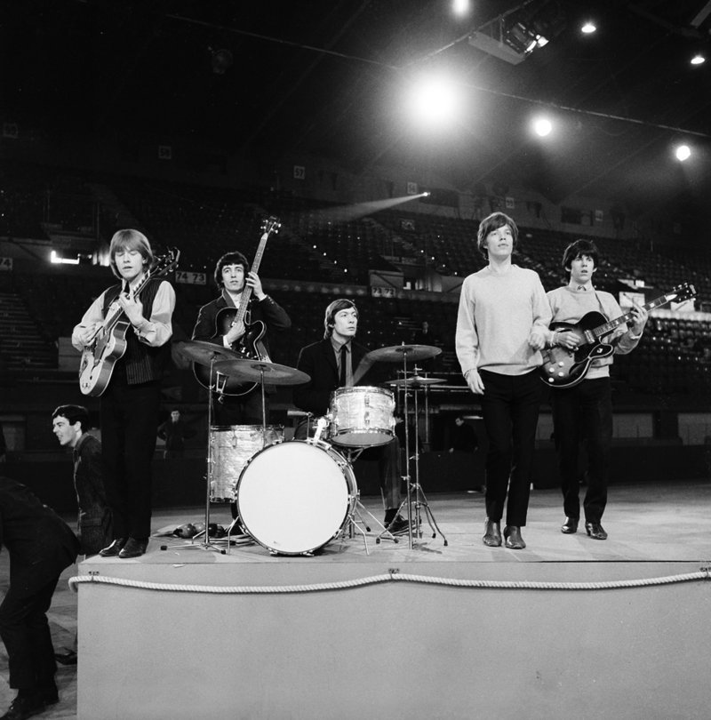 If they can't rock you ... nobody will. From left in this vintage photo of a Rolling Stones 1964 rehearsal: the late guitarist Brian Jones, Bill Wyman, Charlie Watts, Mick Jagger and a pre-substance abuse Keith Richards.