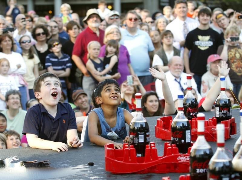 In this June 2012 file photo, Max Cromwell, left, and Pranav Petil, both 7 and from Falmouth, watch the demonstration during the EepyBird, Coke and Mentos Spectacular in Monument Square during the four-day 2012 Portland Performing Arts Festival. The festival – a four-day event mixing jazz, dance, theater, entertainment and classical music that debuted – will not get a second year due to a fundraising shortage.