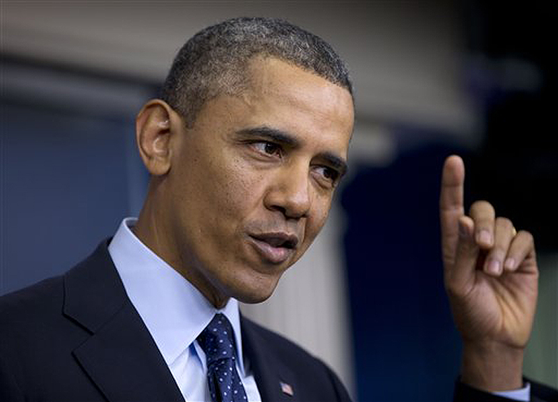President Barack Obama speaks to reporters in the White House briefing room in Washington on Friday following a meeting with congressional leaders regarding the automatic spending cuts.