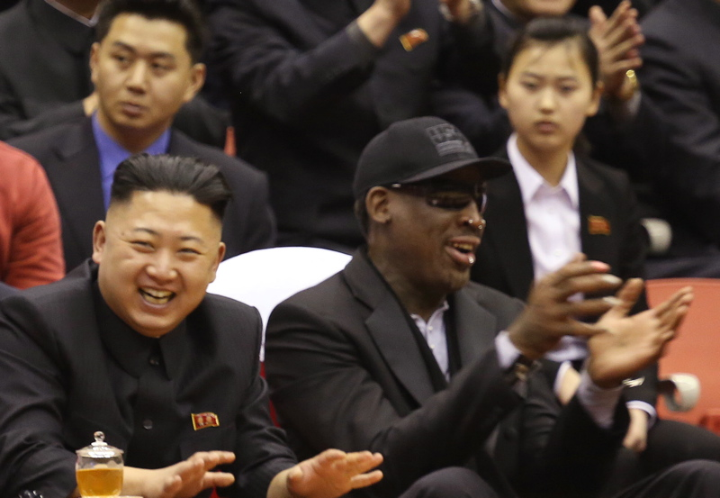 North Korean leader Kim Jong Un, left, and former NBA star Dennis Rodman watch North Korean and U.S. players in an exhibition basketball game in Pyongyang, North Korea last week.