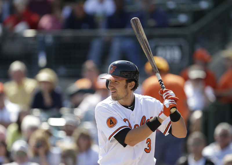 Baltimore Orioles' Ryan Flaherty bats during the eighth inning of an exhibition spring training baseball game against the Tampa Bay Rays on Thursday in Sarasota, Fla. Flaherty is forcing the Orioles into a tough decision.