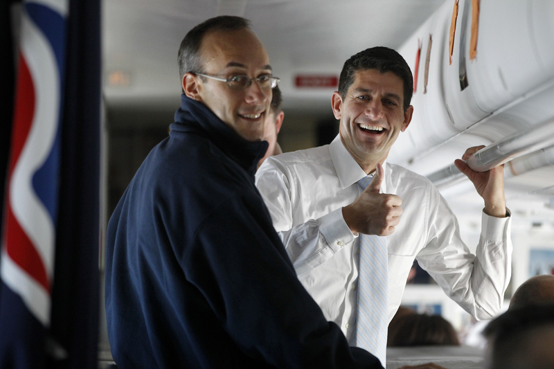 Republican vice-presidential candidate Rep. Paul Ryan, R-Wis., gives the press a thumbs-up on board the campaign charter airplane on Election Day 2012. Ryan told