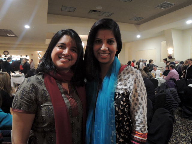 Priya Nayarajan, a teacher at Deering High School, and her friend Ruchi Kaushik, of Scarborough.