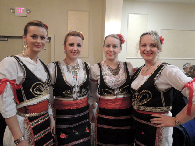 Members of the Serbian dance group Sokolica at the Rock Around the World fundraiser are, from left, Danijela Markez, Davorka Mojsilovic, Bojana Hejabian and Sanja Bukarac.