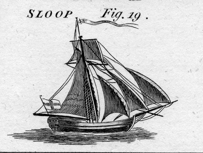 This image from Howard's Encyclopedia of 1788 shows a fully rigged Colonial sloop, the same general type of vessel that wrecked long ago on Short Sands beach in York and was exposed by last week's storm. Image provided by Maine Maritime Museum.