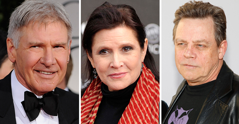 Harrison Ford, Carrie Fisher and Mark Hamill today.