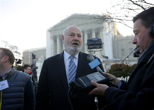 Actor, director and producer Rob Reiner is interviewed outside the Supreme Court in Washington on Tuesday. Reiner, who helped lead the fight against California's Proposition 8, was at the head of line to get into the courtroom.