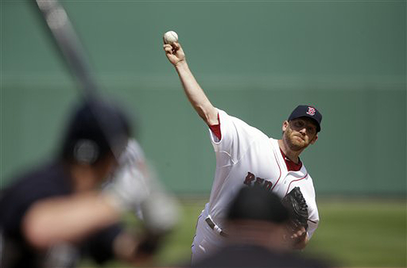Boston Red Sox starting pitcher Ryan Dempster throws to New York Yankee Jayson Nix Sunday in Fort Myers, Fla. Dempster threw 25 of 28 pitches for strikes, allowing only one hit in three scoreless innings, but the Red Sox lost, 5-2.