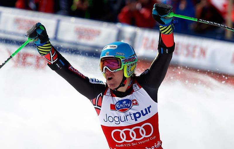 Ted Ligety of the United States reacts after winning the men's Alpine skiing giant slalom at the World Cup finals in Lenzerheide, Switzerland on Saturday.