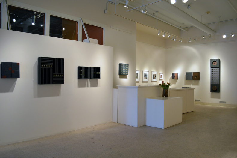Noriko Sakanishi's wall constructions and collages can be seen at the June Fitzpatrick Gallery in Portland through March 23.