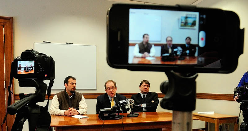 Assistant Majority Floor Leader Rep. Jeff McCabe, D-Skowhegan, left, Majority Leader Sen. Seth Goodall, D-Richmond, and Assistant Majority Leader Sen. Troy Jackson, D-Allagash, answer questions during a news conference on Friday at the State House in Augusta.