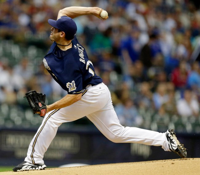 Milwaukee Brewers starting pitcher Mark Rogers throws to the Chicago Cubs during a game on Aug. 20, 2012, in Milwaukee.
