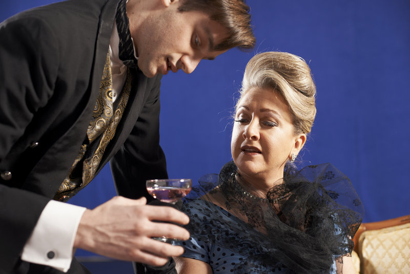 "Harrison Beck and Carol Halstead in Noel Coward's ""A Song at Twilight"" at Portland Stage Company."