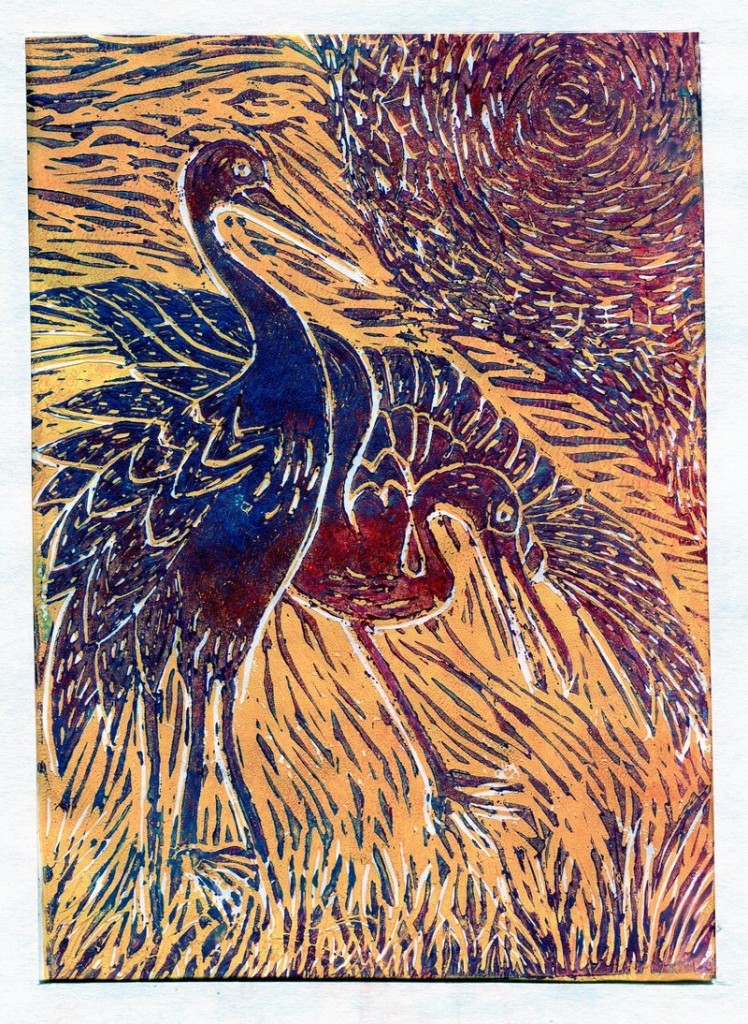 """""""Cranes,"""" a progressive print by Josephine Luka, a junior at Deering High School in Portland, is one of more than 100 works by students being exhibited through March at the Portland Museum of Art."""