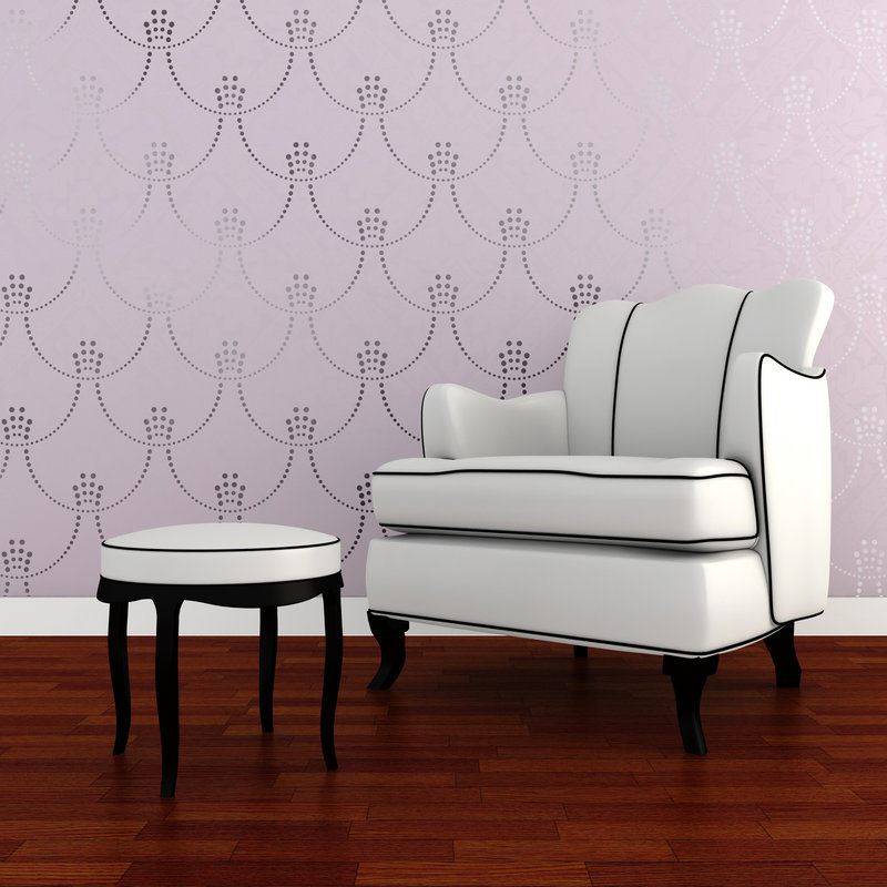 The Deco Pearls Damask wall stencil by Royal Design Studio.