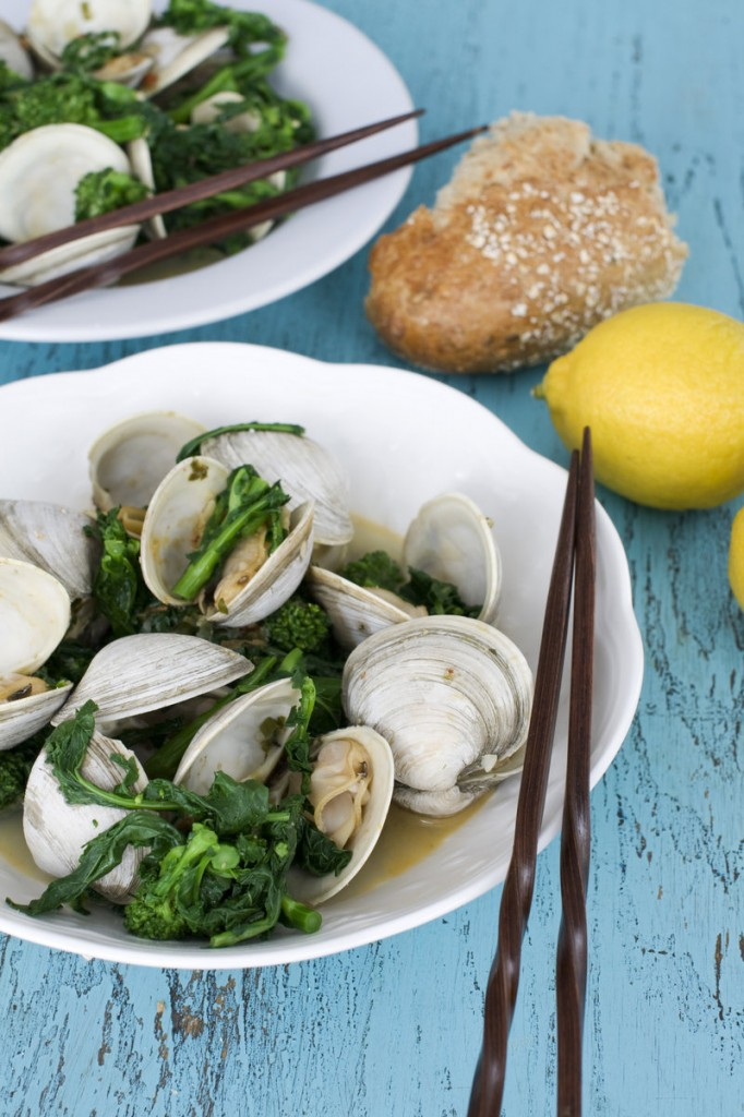 Asian steamed clams or mussels with broccoli rabe. The first step is to blanch the broccoli rabe, which blunts the vegetable's slightly bitter edge.