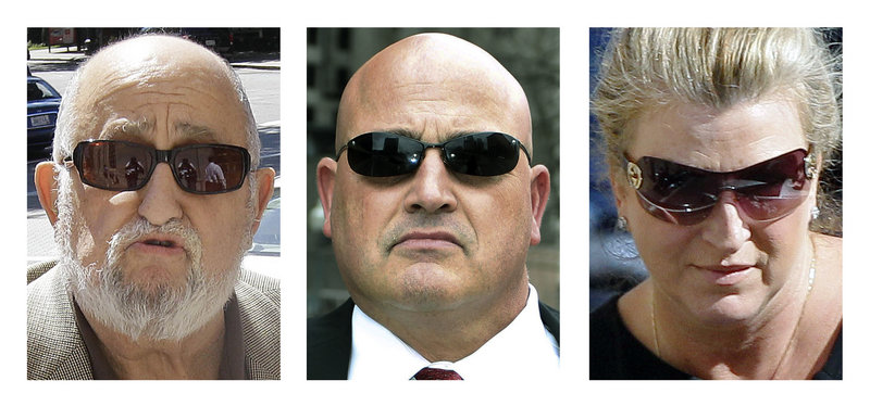 This panel of 2012 file photos show Ralph Mariano Jr., left, his son Ralph Mariano, center, and Mary O'Rourke outside federal court in Providence, R.I. During a hearing Friday, March 1, 2013, all three people, accused in an alleged kickback scheme that prosecutors say cost the U.S. Navy $10 million, waived their right to a jury trial. A federal judge in Rhode Island will instead decide whether they are guilty in a bench trial scheduled to begin in June. (AP Photo/Stephan Savoia)