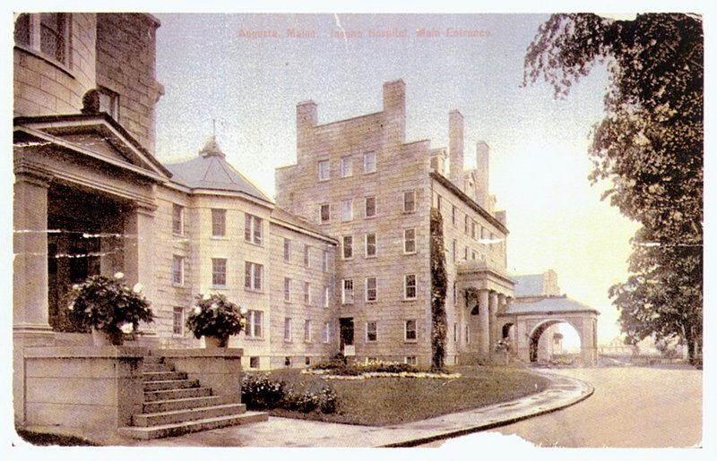 A postcard shows the former Maine Insane Hospital, later called the Augusta Mental Health Institute. Nearly 12,000 people died there over the years; little is known about where they were buried.