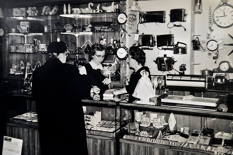 Rose Novick, left, who was married to Jack Novick, the father of present-day owner Sam Novick, and Muriel Novick, right, who was married to Jack Novick's brother David Novick, work as salesclerks at Hub Furniture in 1953.
