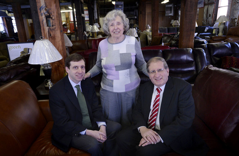 Andrew, Rose and Sam Novick, from left, at Hub Furniture in Portland, which celebrates its 100th anniversary this year.