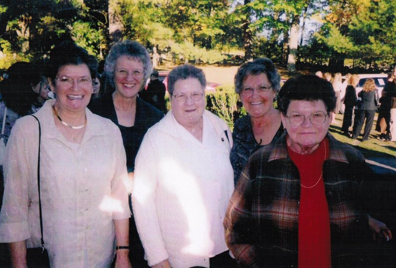 From left to right: Sisters Jane Leighton, Rita Fortin, Linette Dostie, Lorainne Richardson and the late Huguette Sullivan pose in a photo taken at a wedding around 2007.