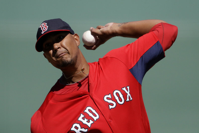 "Felix Doubront throws a pitch in a 5-1 spring training win against the Tampa Bay Rays on Monday at Fort Myers, Fla. ""He got up and down twice, no physical issues,"" said Red Sox Manager John Farrell."