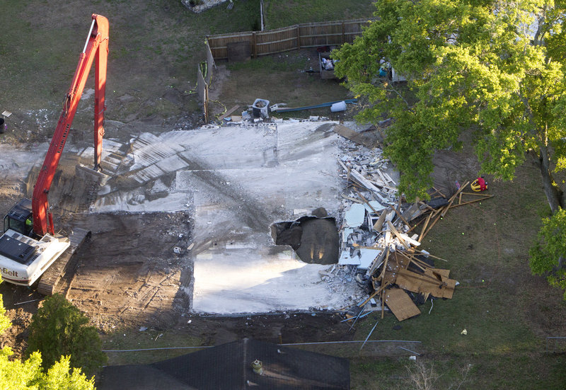 The body of Jeff Bush will likely never be recovered after he vanished when a sinkhole opened under his house in Seffner, Fla., on Feb. 28. Engineers had to demolish the house and fill the huge hole with gravel.