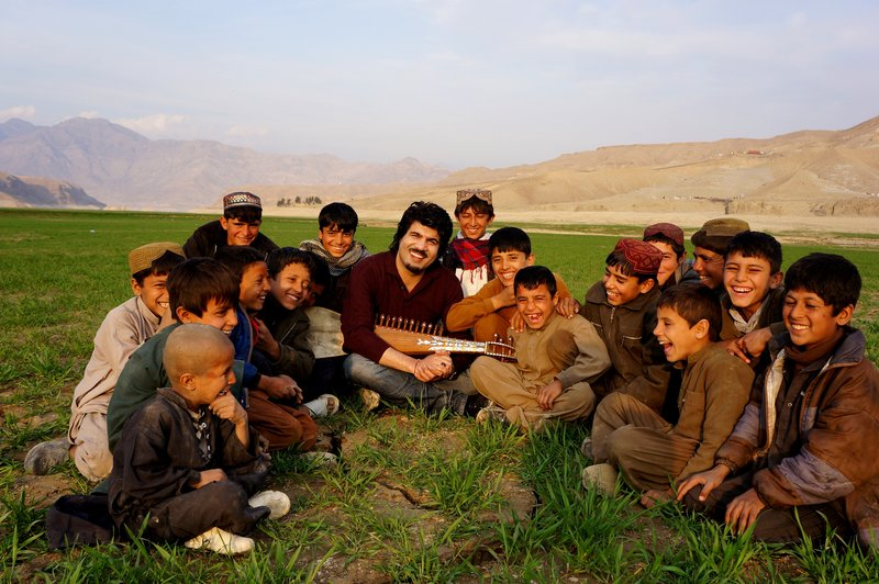Homayoun Sakhi, with students in his native Afghanistan, is a master of the rubab, an Afghan lute that dates back 2,000 years.