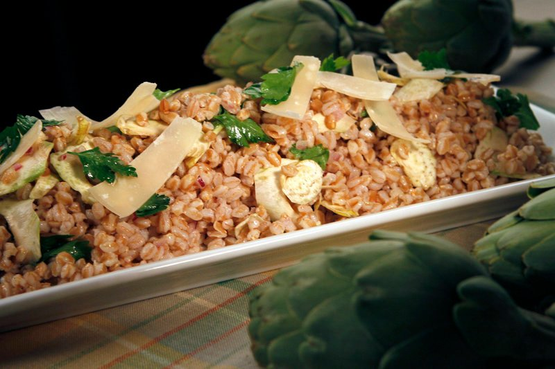 Artichoke and farro salad