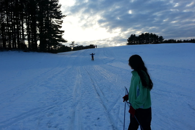 Riverside Golf Course in Portland is the place for some fine cross country skiing and not only that, the winter sunset is a sight to behold.