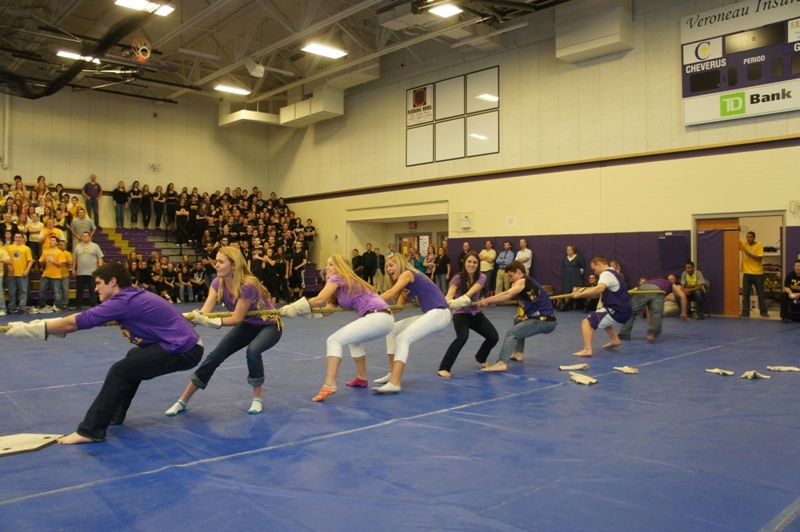 Cheverus High School students compete in a Spirit Week tug of war, one of many fundraisers for a homeless teen shelter in Portland.