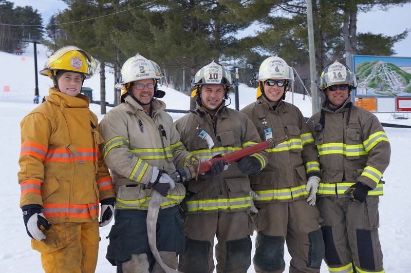 Members of the Harrison Fire Department, from left, Miranda Murphy, Jeff Murphy, Mike Sampson, Nathaniel Sessions and Henry Hudson Jr., won the Mary's Firemen for a Cure ski and fundraising competition at Shawnee Peak in Bridgton.