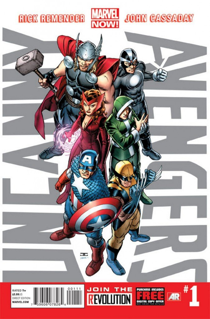 "This image shows the cover of the first issue of ""Uncanny Avengers."" Below is the first ""Civil War."" Marvel is making more than 700 first issues available to digital readers starting Sunday for free through the Marvel app and the company's website. After Tuesday, they'll be sold for $1.99 to $3.99 per issue."