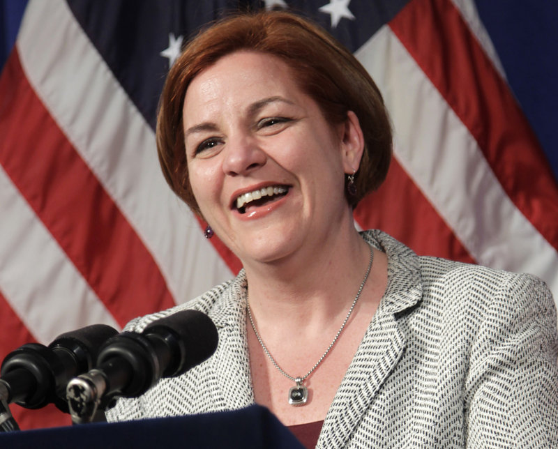 New York City Council Speaker Christine Quinn laughs during a news conference at City Hall in New York in 2012. Quinn, a Democrat, announced through her Twitter feed Sunday that she's in the race to succeed Mayor Michael Bloomberg.