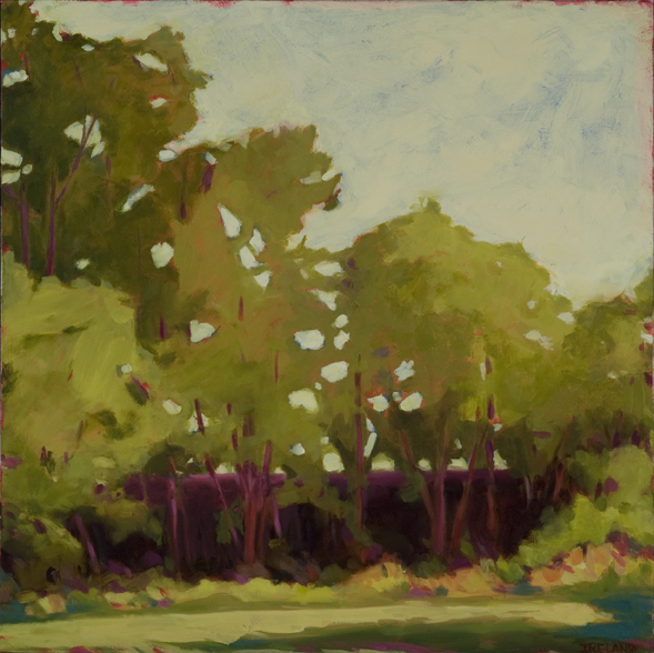 """Through the Trees,"" an oil painting by Anne Ireland from ""Spring!"", an exhibit also featuring the work of Henry Isaacs, Andrea Peters, Karen Tusinski and Carole Hanson at Gleason Fine Art in Portland."