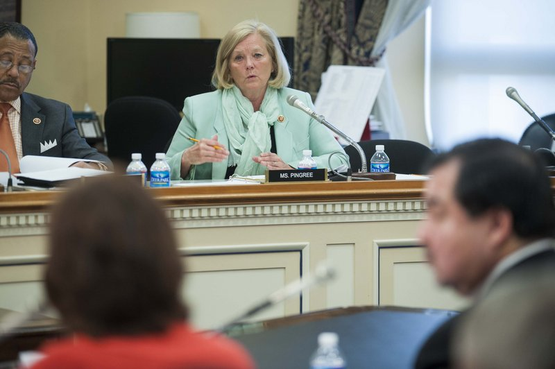 Rep. Chellie Pingree, D- Maine, center, questions Dr. Elisabeth Hagen, undersecretary for food safety, and Alfred Almanza, administrator, Food Safety And Inspection Service, right, during a House Agriculture Subcommittee hearing in Washington on Wednesday.