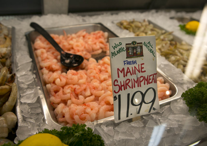 A single tray of fresh Maine shrimp is all that remains in stock at Harbor Fish Market, Wednesday, March 13, 2013, in Portland, Maine. This year shrimp season has been an even bigger bust than anybody anticipated. The shrimp catch has been meager, resulting in a short supply for processors and higher prices for consumers. The season is on course for the smallest harvest in more than 30 years, and possibly since 1978 when the fishery was shut down altogether. (AP Photo/Robert F. Bukaty)