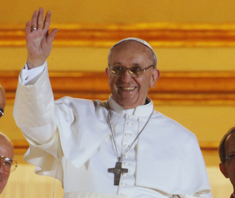 Pope Francis I greets the crowds at the Vatican on Wednesday.