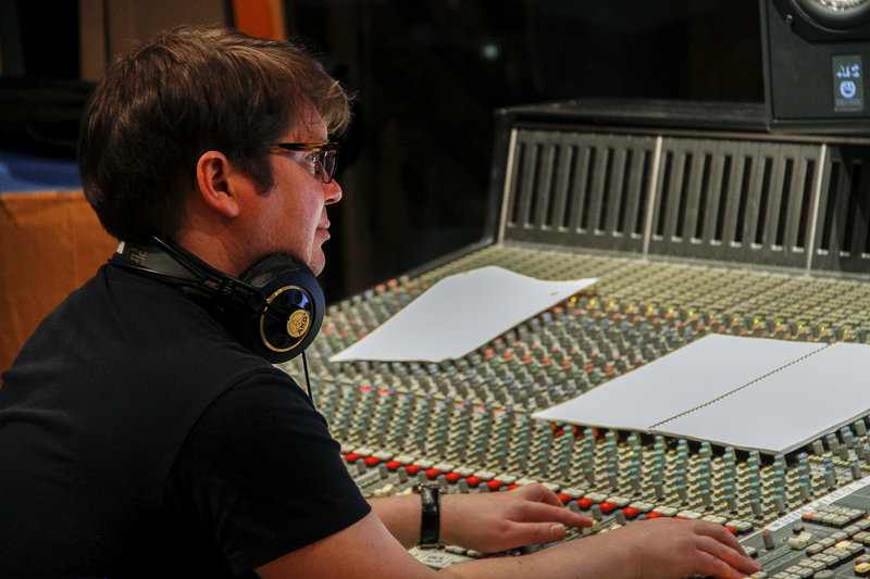 "Lawrence Manchester at the controls at MSR studios in New York during recording of the cast album for the Off-Broadway show ""Dogfight."" Manchester mixes the music for ""Late Night with Jimmy Fallon"" on NBC. He also mixed the music on Fallon's Grammy-winning comedy album ""Blow Your Pants Off""; the movies ""The Departed,"" ""Frida"" and ""The Red Violin""; and the NBC series ""Smash."" Fallon credits Manchester with helping make ""Late Night"" ""the best-sounding show on television."""
