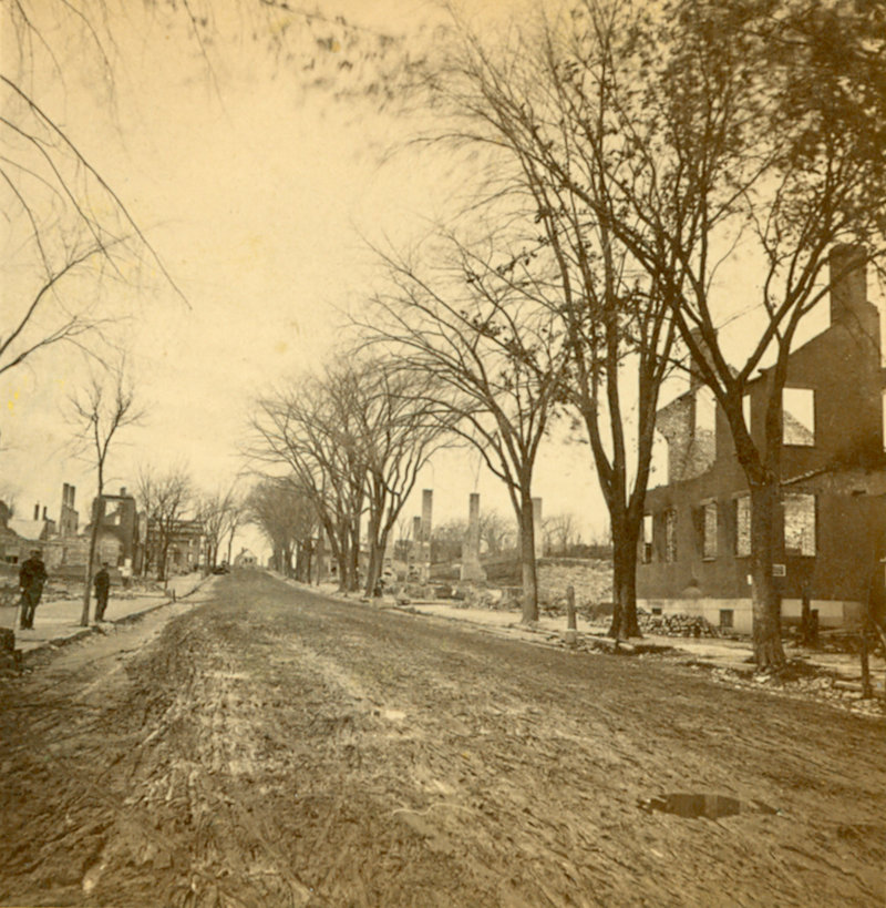 This photo, taken after the Great Fire of 1866, shows the area that is now the corner of Middle and India streets looking toward Congress Street.