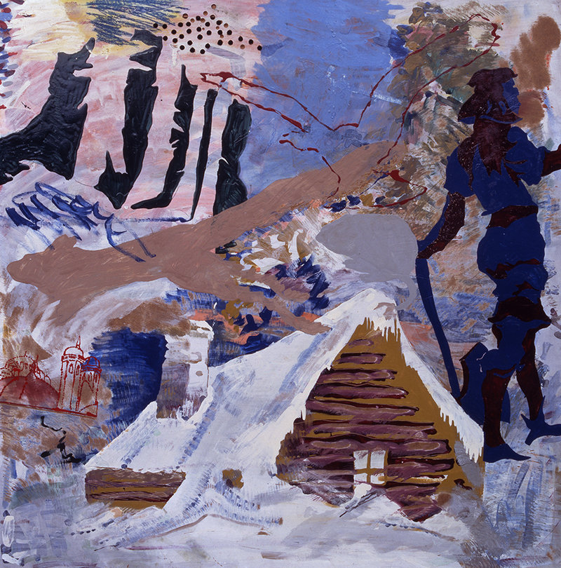 """Mordet I Finderup Lade (Regicide at Finderup Barn),"" 1967, mixed media on Masonite, and, below, ""Untitled (Horses),"" 2009, tempera on canvas by Per Kirkeby."