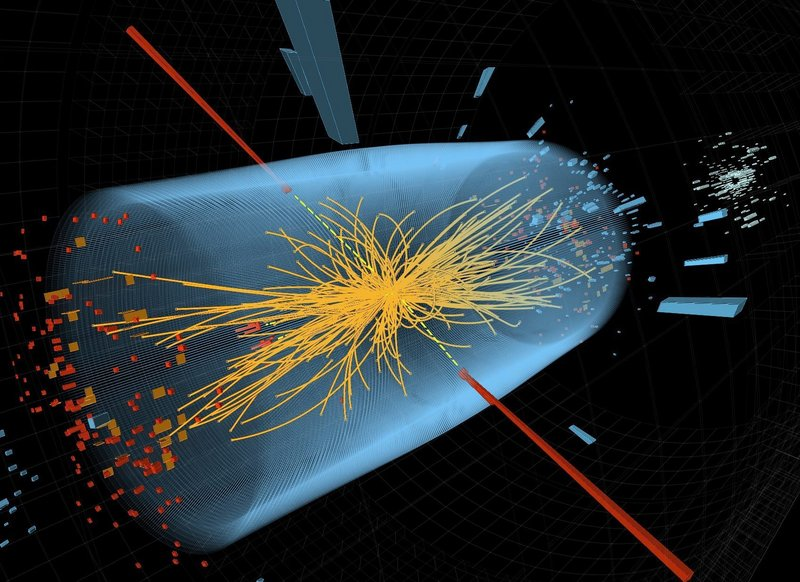 "Image shows two high-energy photons' energy depicted by red towers. Yellow lines are the tracks of other particles produced in the collision. CERN says data from 2012 shows a version of the ""God particle."""