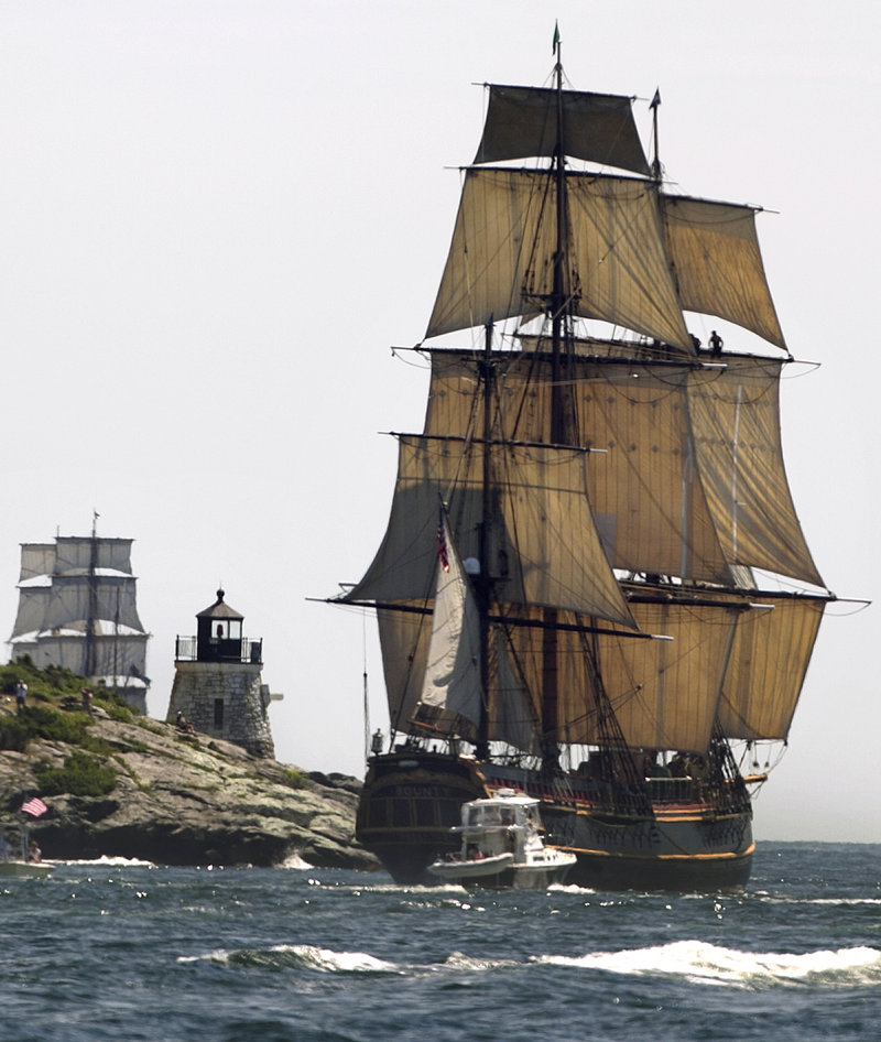 The replica of the historic ship HMS Bounty sails past a lighthouse as it departs Narragansett Bay, Rhode Island, and heads out to sea last year.