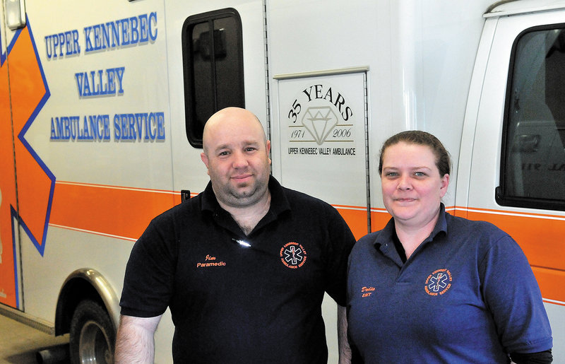 "Paramedic James Baldwin and EMT Doraine ""Dodie"" Mathieu for the Upper Kennebec Valley Ambulance Service in Bingham. Bingham voters recently rejected a request from the service for about 40 percent of the service's budget for 2013."