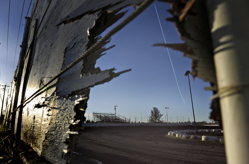 A photo taken Sunday shows the racetrack where a sprint car accident killed a 14-year-old boy and a 68-year-old man Saturday evening at Marysville Raceway Park in Marysville, Calif.