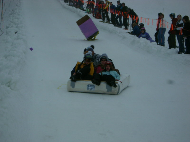 Shawnee Peak's annual mattress race attracts about 20 teams and hundreds of spectators each year. Participants are encouraged to decorate their mattresses, wear silly costumes, name their teams and just generally have fun with it.