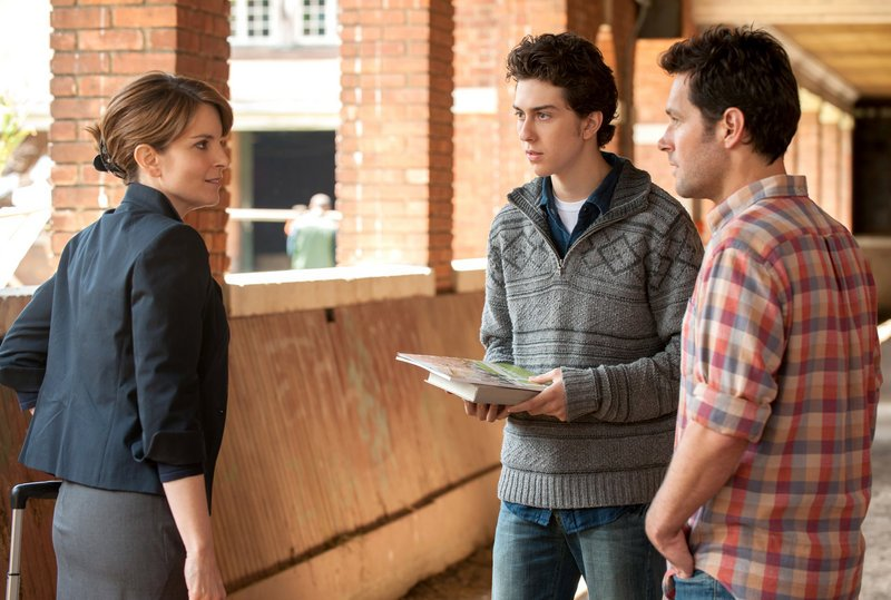 "Portia (Tina Fey), Jeremiah (Nat Wolff) and John (Paul Rudd) dance around a secret from Portia's past in ""Admission."""