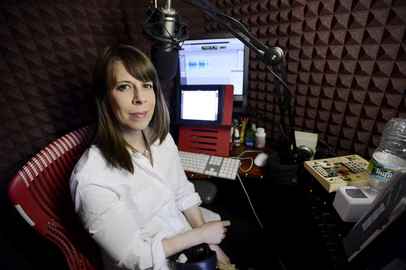 "Tavia Gilbert in the home studio in Portland where she records audio books, most recently ""Let Me Stand Alone"" by Rachel Corrie."