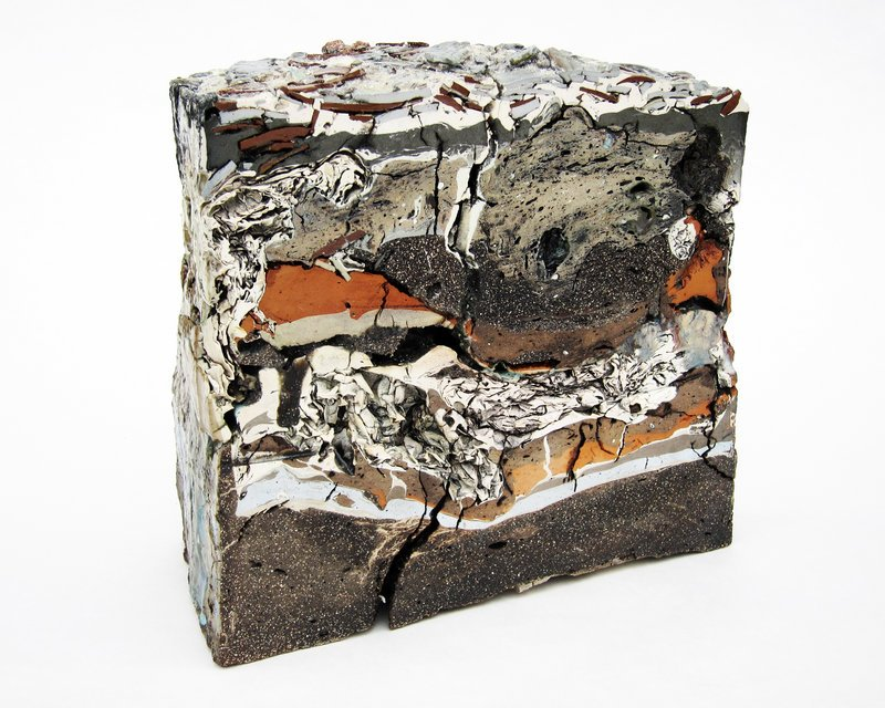 """Landfill No. 43: Central Cross Section,"" above, various clays, glazes and stains."