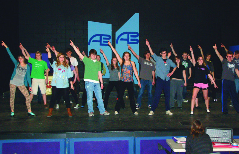 "Marshwood High School drama students rehearse scenes from their musical, ""Disco Inferno,"" which will be performed Friday and Saturday and April 5 and 6 at the South Berwick school's auditorium."